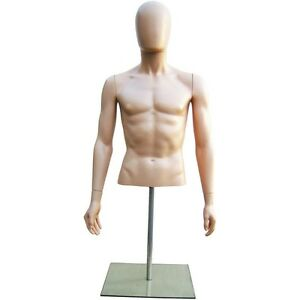 Mn 247 Fleshtone Plastic Male Upper Torso Countertop Form W Removable Head