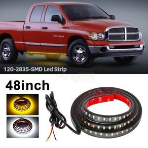 48 Amber White 120 Led Flexible Turn Signal Running Truck Board Strip Light Bar