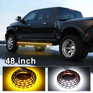 Amber White 120smd 48 Led Strip Bar Turn Signal Light Running Parking Lights