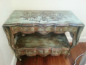 Antique French Painted Bar Cart Serving Buffet