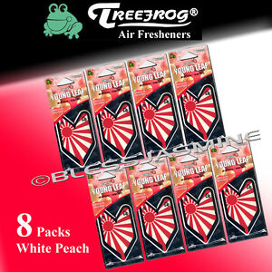 8 Packs Treefrog Sunrise Young Leaf White Peach Hanging Air Freshener Jdm