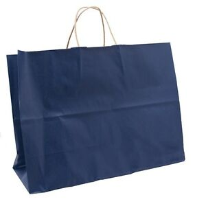 50 Large Blue Tote Handle Merchandise Retail Shopping Bags 16 X 6 X 12