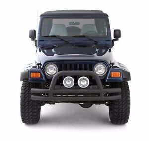 Smittybilt Black Tubular Front Bumper With Hoop For 1976 2006 Jeep Cj
