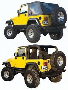 Rampage 2 In 1 Frameless Combo Soft Top For 1997 2006 Jeep Wrangler Tj 109535