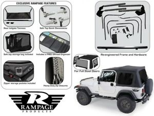 Rampage Complete Tinted Soft Top Hardware Kit 1987 1995 Jeep Wrangler Yj 68035