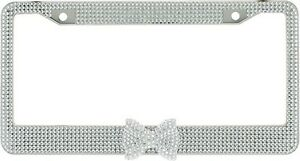 Clear 7 Rows Bling Diamond Crystal License Plate Frame With Clear Bow Tie