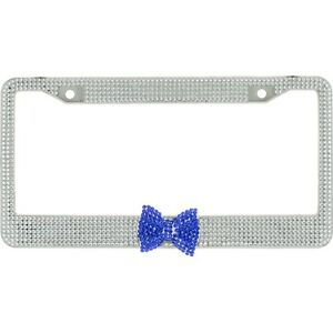 Clear 7 Rows Bling Diamond Crystal License Plate Frame With Blue Bow Tie