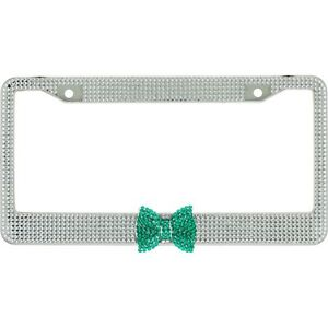 Clear 7 Rows Bling Diamond Crystal License Plate Frame With Green Bow Tie