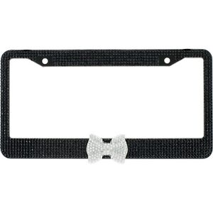Black 7 Rows Bling Diamond Crystal License Plate Frame With Clear Bow Tie