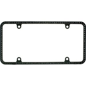 Swarovski Black Crystal Bling Slim License Plate Frame Inlay Black Frame