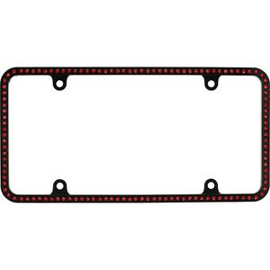 Swarovski Red Crystal Bling Slim License Plate Frame Inlay Black Frame