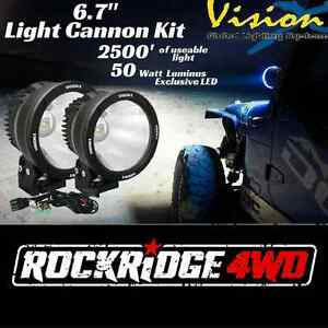 Vision X 6 7 Led Light Cannon Kit Pair 10 Degree 50 W Spot Beam W Wire Harness