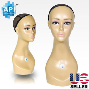 Realistic Plastic Female Mannequin Head Lifesize Display Wig Hat 18 B2