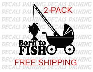 2 Fishing Decals Vinyl Sticker Lure Reel Rod Hook Tackle Box Tug Canoe Boat Fly