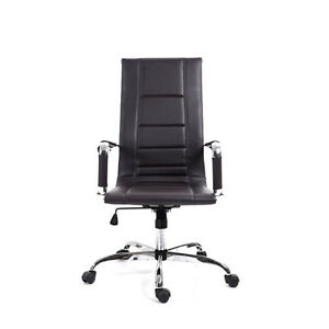 Brown High Back Modern Office Chair Pu Leather Executive Computer Desk Chair