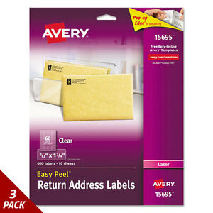 Avery Clear Easy Peel Mailing Labels Laser 2 3 X 1 3 4 600ct 3 Pack