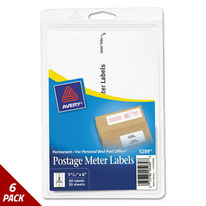 Postage Meter Labels For Personal Post Office E700 1 25 32x6 White 60ct 6 Pack