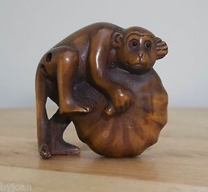 Chinese Netsuke Hand Carved Charming Monkey Melon Signed