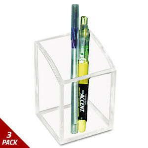 Kantek Acrylic Pencil Cup 2 3 4 X 2 3 4 X 4 Clear 3 Pack