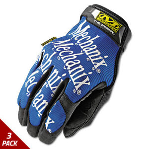 Mechanix Wear The Original Work Gloves Blue black Large 3 Pack
