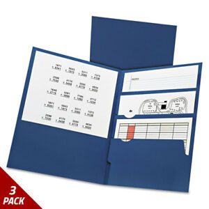 Oxford Divide It Up Four pocket Paper Folders 11 X 8 1 2 Navy 20ct 3 Pack