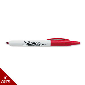 Sharpie Retractable Permanent Marker Fine Point Red 3 Pack