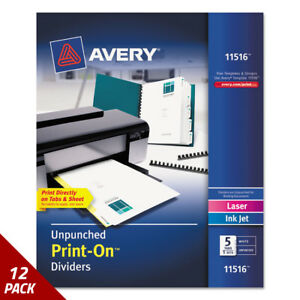 Avery Customizable Print on Dividers 5 tab Letter 5 Sets 12 Pack