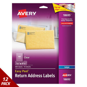 Avery Clear Easy Peel Mailing Labels Inkjet 2 3 X 1 3 4 600ct 12 Pack