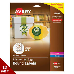 Avery Round Print to the edge Labels 2 Dia Glossy White 120ct 12 Pack