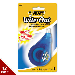 Bic Wite out Ez Correct Correction Tape Non refillable 1 6 X 472 12 Pack