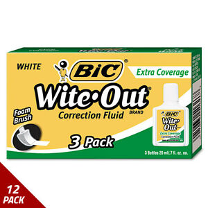 Bic Wite out Extra Coverage Correction Fluid 20 Ml Bottle White 3ct 12 Pack