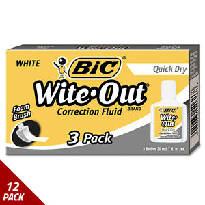 Bic Wite out Quick Dry Correction Fluid 20 Ml Bottle White 3ct 12 Pack