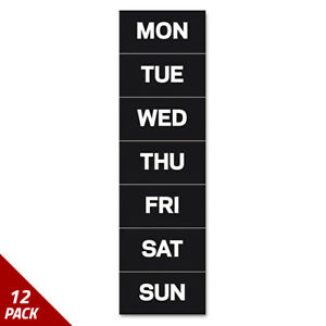 Mastervision Calendar Magnetic Tape Days Of The Week Black white 2 x1 12 Pack