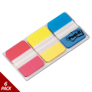 Post it Tabs File Tabs 1 X 1 1 2 Assorted Primary Colors 66ct 6 Pack