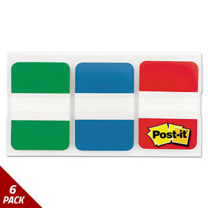 Post it Tabs File Tabs 1 X 1 1 2 Blue green red 66ct 6 Pack