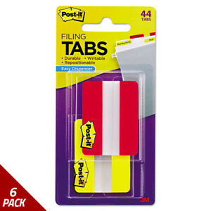 Post it Tabs File Tabs 2 X 1 1 2 Solid Red yellow 446ct 6 Pack
