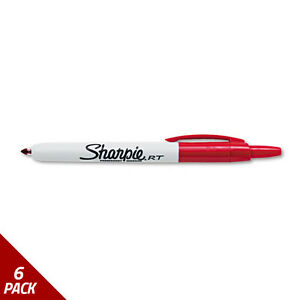 Sharpie Retractable Permanent Marker Fine Point Red 6 Pack