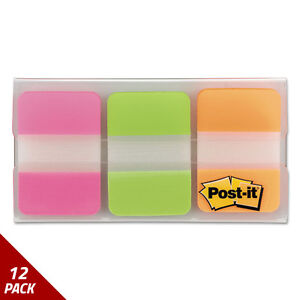 Post it Tabs File Tabs 1 X 1 1 2 Assorted Brights 66ct 12 Pack