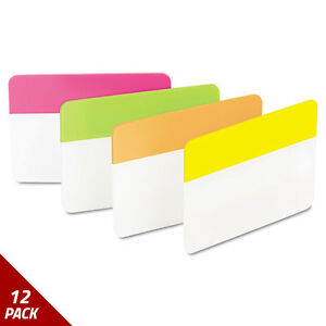 Post it Tabs File Tabs 2 X 1 1 2 Solid Flat Assorted Bright 24ct 12 Pack