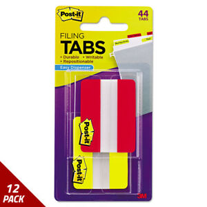 Post it Tabs File Tabs 2 X 1 1 2 Solid Red yellow 446ct 12 Pack