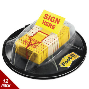 Post it Flags Dispenser sign Here Yellow 200 Flags dispenser 12 Pack