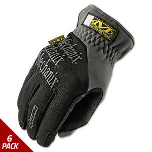Mechanix Wear Fastfit Work Gloves Black gray Large 6 Pack