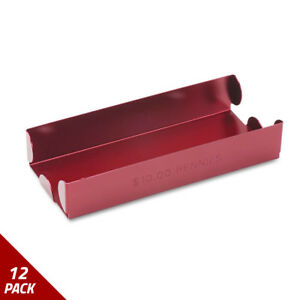Rolled Coin Aluminum Tray W denomination quantity Etched On Side Red 12 Pack