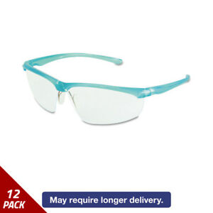3m Refine 201 Safety Glasses Wraparound Clear Antifog Lens Teal Frame 12 Pack