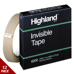 Highland Invisible Permanent Mending Tape 3 4 X 2592 3 Core Clear 12 Pack