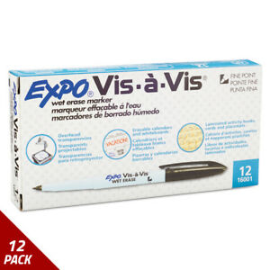 Expo Vis vis Wet erase Marker Fine Point Black Dozen 12 Pack
