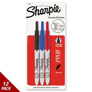 Retractable Permanent Marker Ultra Fine Tip Black Blue Red 3 set 12 Pack