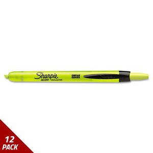 Accent Retractable Highlighters Chisel Tip Fluorescent Yellow 12ct 12 Pack