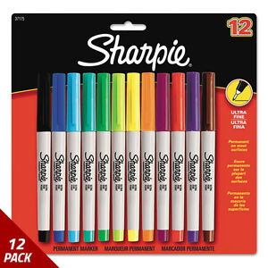 Sharpie Permanent Markers Ultra Fine Point Assorted Colors 12ct 12 Pack