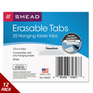 Smead Erasable Hanging Folder Tabs 1 3 Tab 3 1 2 Inch White 25ct 12 Pack